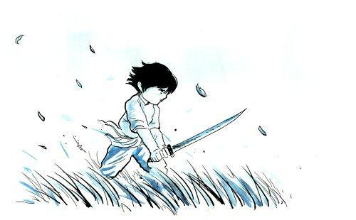 Boy with Sword and Wind.  Also, leaves and grass and stuff, blowing.