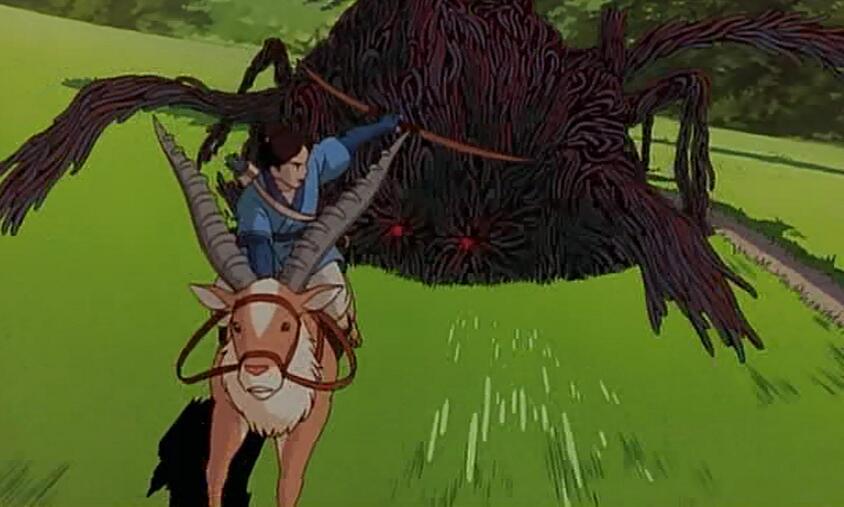 The black goo takes over a god and chases Ashitaka in Princess Mononoke (1997)