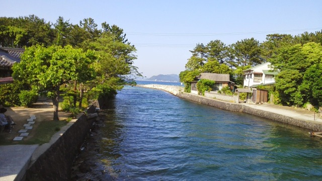 River Hagi Town Japan Sea